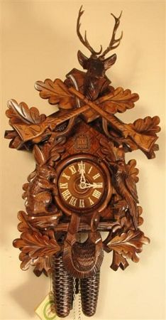German Original Black Forest Cuckoo Clocks - Hunting Cuckoo Clock, Stag and Crossed Guns, Model