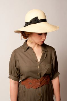 SALE Panama Sun Hat - Natural Straw with Black Trim - Ladies Designer Hat. $90.00, via Etsy.