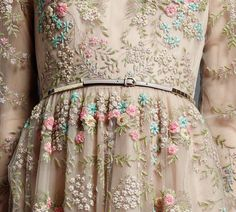 Valentino -- detail from Spring 2013 Collection. hijab fashion, lace, inspiration, couture, flowers, hijab styles, romantic dresses, vintage embroidery, belts