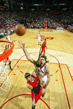 Scola with a hand in his face.    For the latest Houston Rockets news & updates, visit www.rockets.com.