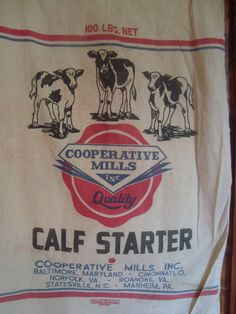 vintage CALF STARTER feed sack tote  with baby COWS  by ginnymae, $60.00