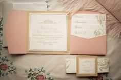 pink, white and gold wedding invites