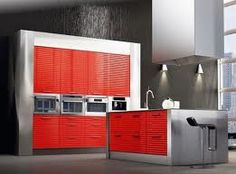 red,silver and black kitchen