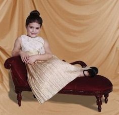 Kids Victorian Swan Couch Chaise Sofa for Girls, Solid Mahogny. For the Princess in your Family! Ages 1-9