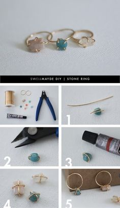 DIY | DELICATE STONE RING: Free tutorial, but it uses glue to secure the stone to the ring shank.  Have to try something similar without the glue.