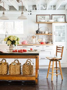 An amazing renovation of a 1907 Schoolhouse in Country Living featuring our Beachcomber Baskets. #potterybarn