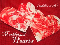 Marbleized Hearts- fun project for kids!