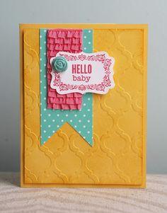 Stampin' Up! embossing folder Modern Mosaic, Simply pressed clay & Strawberry Slush ruffle trim ribbon