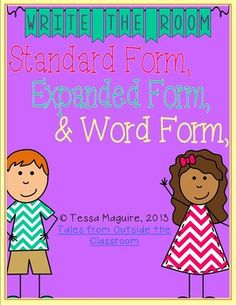 Expanded Form, Standard Form, Word Form Write the Room freebie