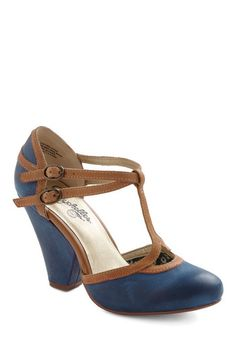 Fourth Wall Heel by Seychelles - Blue, Tan / Cream, Mid, Party, Work, Vintage Inspired