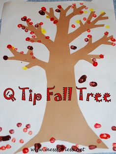 Mess For Less: Painting a Fall Tree with Q Tips