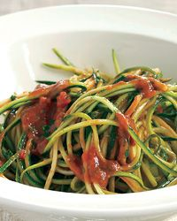 Zucchini Ribbons with Raw Tomato Marinara