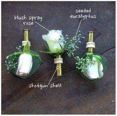 boutonniers from gun shells | Spray Rose & Shotgun Shell Boutonniere by Jen's Blossoms