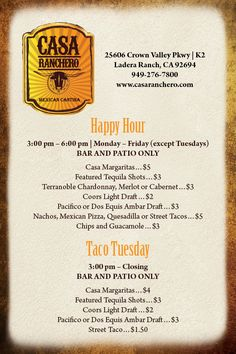 Taco Tuesday 'til close - margaritas $4, tequila $3, coors $2, pacifico or dos equis $3, street tacos $1.50