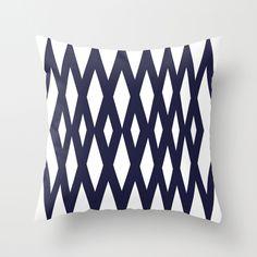Navy Diamonds Throw Pillow
