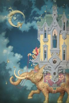 Daniel Merriam. daniel merriam, moon, magic, fantasi, eleph, artist, danielmerriam, jigsaw puzzles, illustr