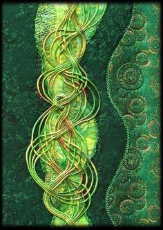 Tissus batiks, lacets et dentelle ancienne teints pas Isabelle Girodet.