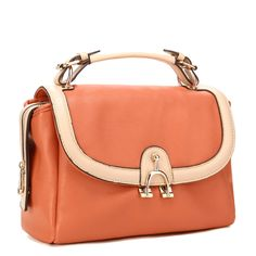Orange Handbag PU Leather Ladies Handbag