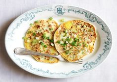 "Pea pancakes from @Bon Appetit Magazine's ""22 Brunch Recipes for a Lovely, Lazy Morning"" - yields 4 servings; 3g fiber, 15g protein, 320 calories. Ingredients: 1 c shelled fresh peas (from about 1 pound pods) or frozen peas (thawed), 1 tsp kosher salt, 3 lrg eggs, 1 c low-fat cottage cheese, 1/4 c all-purpose flour, 2 tbsp veg oil, 4 scallions (thinly sliced), and 1/2 stick salted butter (melted)."