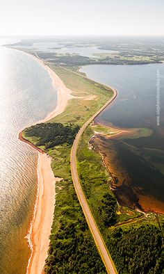 Fun in the Sky – PEI Aerial Photography « The winding road from Brackely to Robinson Island. (Prince Edward Island)