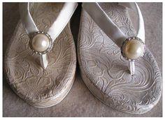 Wedding Wedges Flip Flops, White Wedge Flip Flops – Bridal Shoes