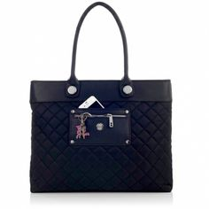 """Women's Roma Tote Bag 13"""" Laptop Bag Black Quilted $120"""