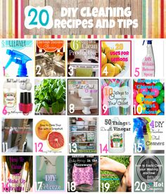 20 DIY Cleaning Recipes, Tips and Tricks!