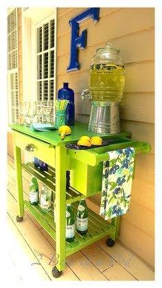Check out this Stylish Lime Green Bar Cart Makeover from 2 Bees in a Pod. #porch