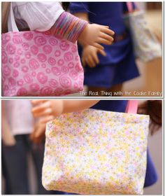 Free doll patterns for an American Girl Doll reversible tote #sewing #AmericanGirl