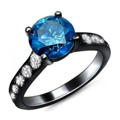 1.80ct Blue Round Diamond Engagement Ring 14k Black Gold / Front... ($3,395) ❤ liked on Polyvore