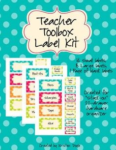 FREEBIE Teacher Toolbox Labels - matches Dots on Turquoise