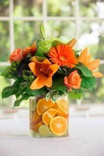 yellow flowers, orang centerpiec, brunches, wedding centerpieces orange, color, orange centerpiece ideas, orange centerpieces, irish wedding, bridal showers
