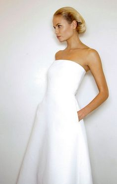 simple white strapless- with pockets