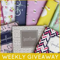 Check out Spoonflower's weekly giveaway, a chance to win a bundle of colorful May Designs notebooks and ten fat quarters printed with patterns from May Designs' Spoonflower shop!