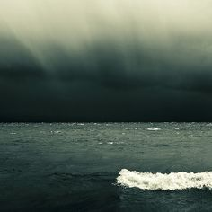 water, blue, color, the ocean, ocean waves, black white, cloud, sea, storm