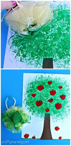 Apple tree craft using a pouf bath sponge! #Fall craft for kids! | CraftyMorning.com
