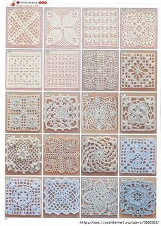 Lots of free crochet squares, motifs, diagram patterns. Great for making a afghan, table cloth, purse, tote bag, baby blanket or even to cover stones. Use Google Translate for another language.