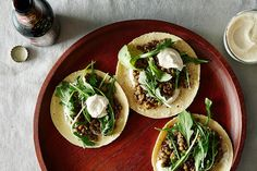 Mushroom Lentil Tacos with Tahini Yogurt Sauce