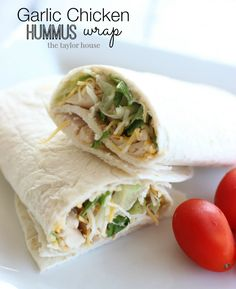 Garlic Chicken Hummus Wrap Recipe - Go #GlutenFree with Gerry's Go No Gluten wraps or #LowCarb with Gerry's Go Low Carb wraps - yummy!