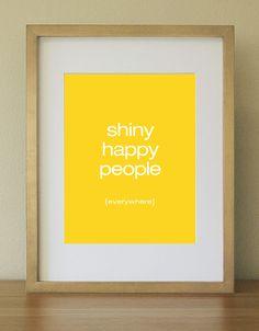 Shiny Happy People - Art Print. Bright yellow. Home Decor. Home Office. 8 x 10. $15.00, via Etsy.