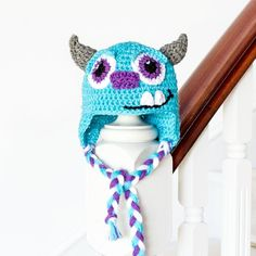 """Get in touch with your inner cutie pie with this adorable """"Monsters Inc. Sulley Inspired Baby Hat""""! Free crochet pattern available!"""