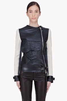 Denis Gagnon Wool Sleeve Leather Bomber Jacket