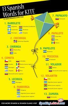 #Infographic 13 SPANISH LANGUAGE WORDS FOR KITE #Spanish #LearnSpanish via http://www.speakinglatino.com/whats-the-word-kite/