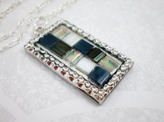 Blue Necklace, Glass Necklace, Mosaic Pendant, Sterling Silver Necklace, Silver Pendant Necklace, OOAK on Etsy, $71.00