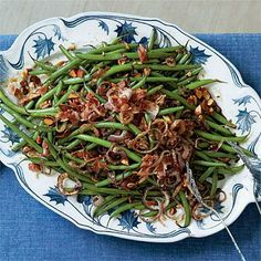 Balsamic Green Beans | Enjoy the crunch from crispy fried shallots, crumbled bacon, and coarsely chopped roasted almonds on top. | SouthernLiving.com