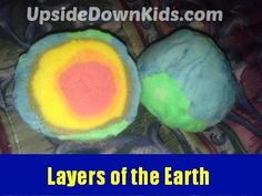 Hands on layers of the earth project with salt dough.
