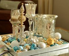 Mercury glass and ornaments