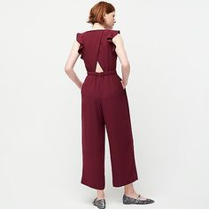 J.Crew: Sleeveless Ruffle Jumpsuit In 365 Crepe