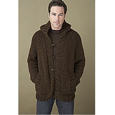 Classic shaping, handy pockets and a flattering hood to wear up or down. Simple sizing and raglan sleeves make this a great unisex cardigan for women or for men. (Lion Brand Yarn)
