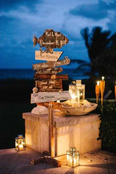 Beach-themed wedding sign | photography by http://www.beccaborge.com/
